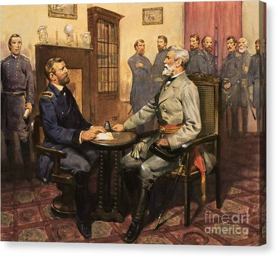 American Flag Canvas Print - General Grant Meets Robert E Lee  by English School