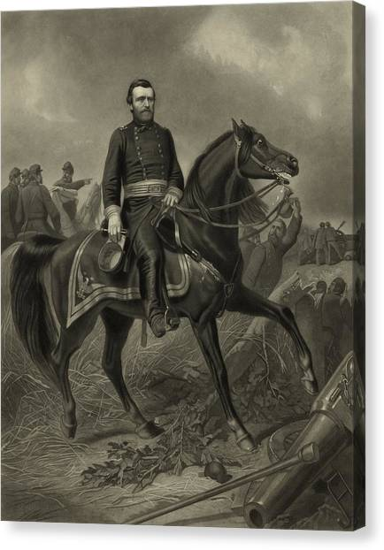 U. S. Presidents Canvas Print - General Grant On Horseback  by War Is Hell Store