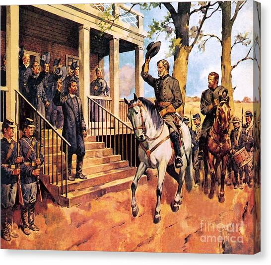Confederate Army Canvas Print - General Lee And His Horse 'traveller' Surrenders To General Grant By Mcconnell by James Edwin