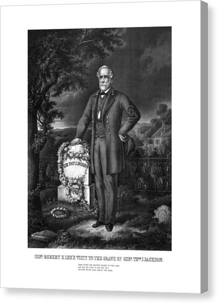 Stonewall Canvas Print - General Lee Visits The Grave Of Stonewall Jackson by War Is Hell Store