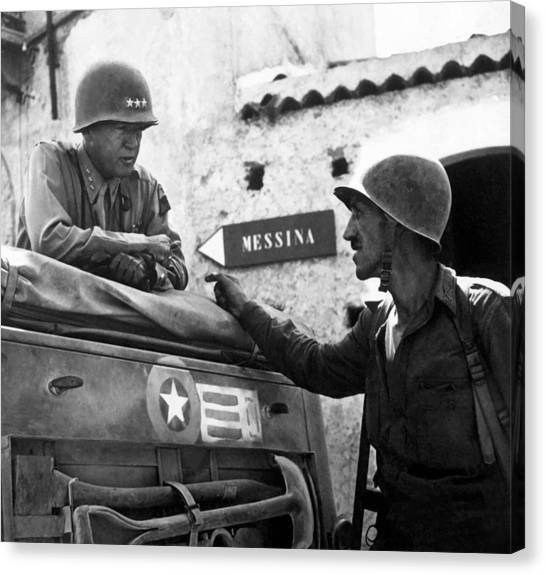 Tanks Canvas Print - General Patton In Sicily by War Is Hell Store