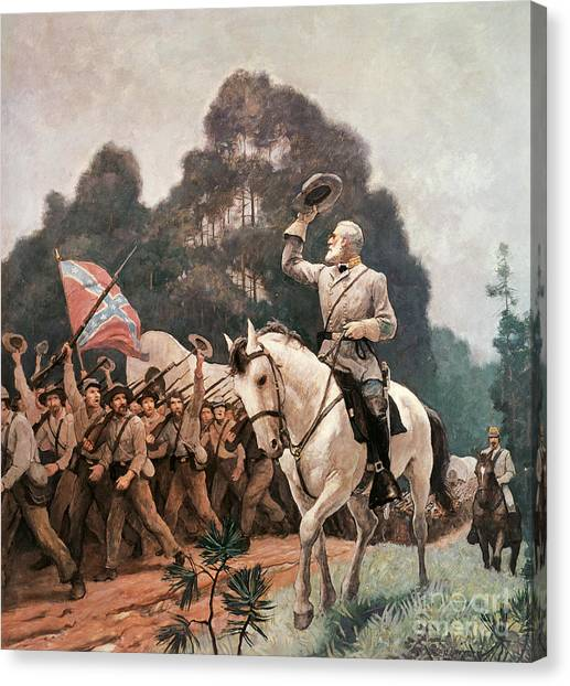 Confederate Army Canvas Print - General Robert Lee Saluting The Troops Heading To The Front by Newell Convers Wyeth