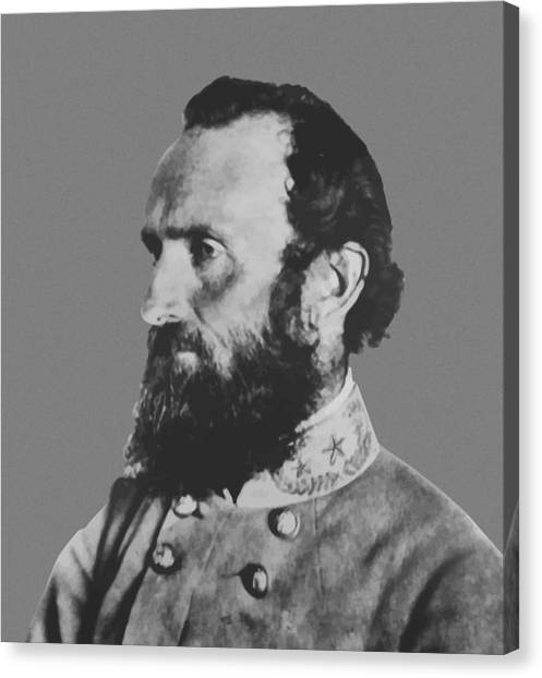 Confederate Army Canvas Print - General Stonewall Jackson Profile by War Is Hell Store