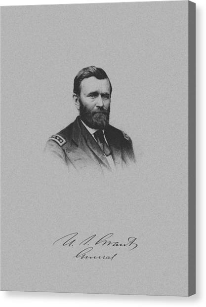 U. S. Presidents Canvas Print - General Ulysses Grant And His Signature by War Is Hell Store