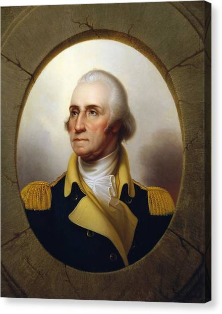 Military Canvas Print - General Washington - Porthole Portrait  by War Is Hell Store