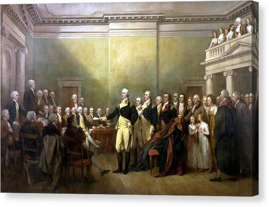 President Canvas Print - General Washington Resigning His Commission by War Is Hell Store