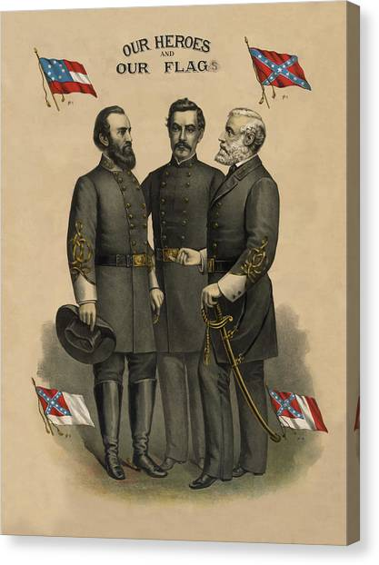 Confederate Army Canvas Print - Generals Jackson Beauregard And Lee by War Is Hell Store