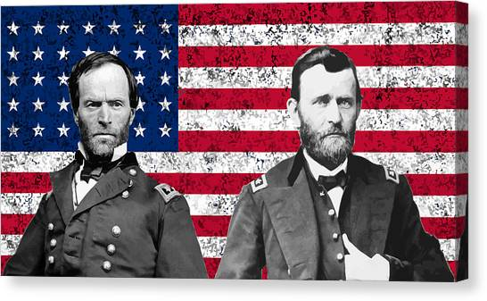 Civil War Canvas Print - Generals Sherman And Grant  by War Is Hell Store