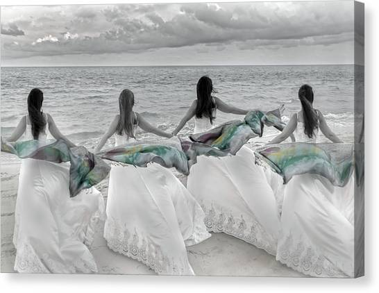 Wedding Gown Canvas Print - Generations By The Sea by Betsy Knapp