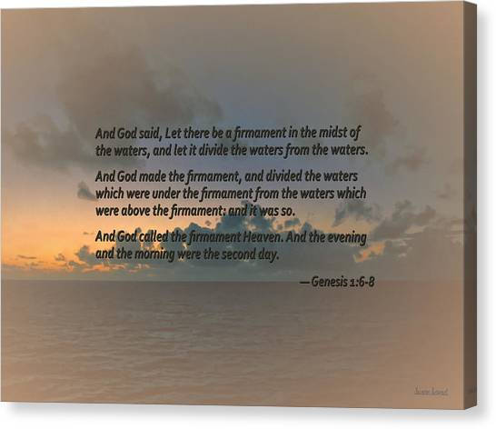 Genesis 1 6-8 Let There Be A Firmament In The Midst Of The Waters Canvas Print by Susan Savad