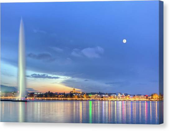 Geneva Lake With Famous Fountain, Switzerland, Hdr Canvas Print