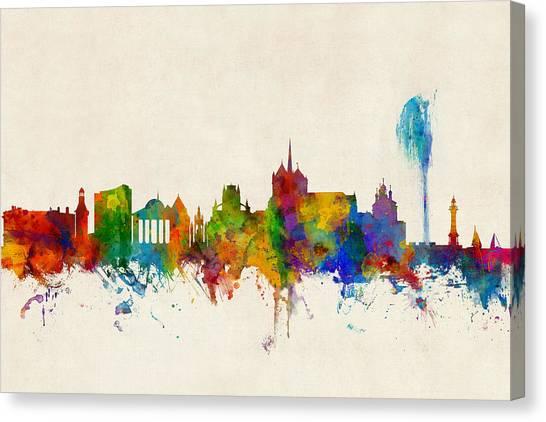 Swiss Canvas Print - Geneva Switzerland Skyline by Michael Tompsett
