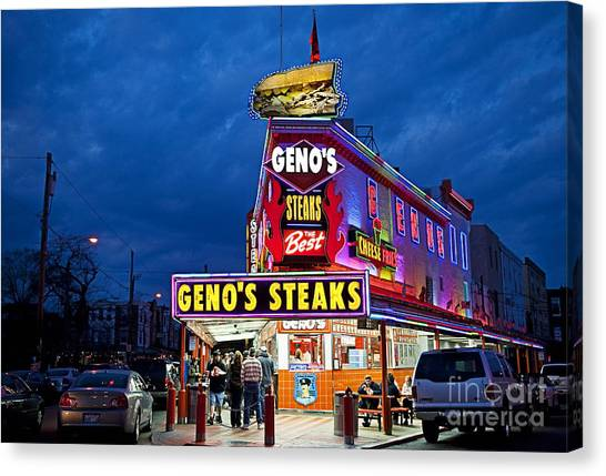 Steak Canvas Print - Geno's Steaks South Philly by John Greim