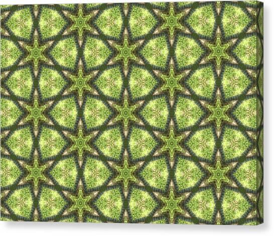 Geo Stars In Greens Canvas Print