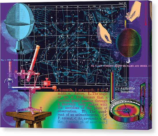 Geography And Voyaging Homage To Joseph Cornell Canvas Print by Eric Edelman