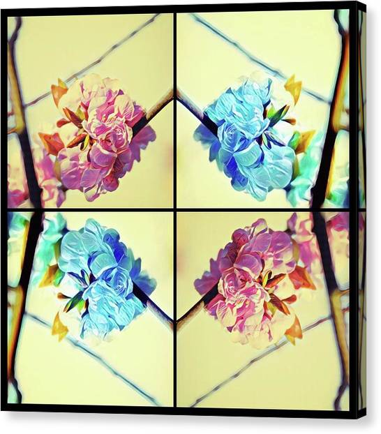 Geometric Cherry Blossoms Canvas Print