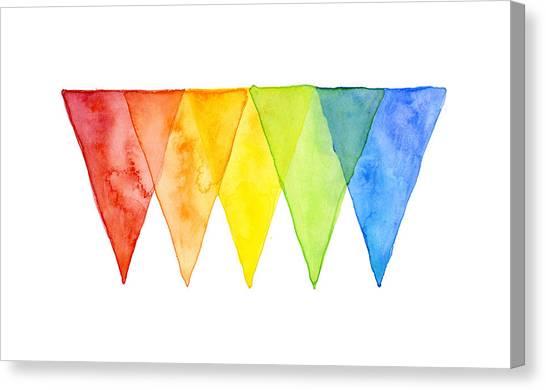 Triangle Canvas Print - Geometric Watercolor Pattern Rainbow Triangles by Olga Shvartsur