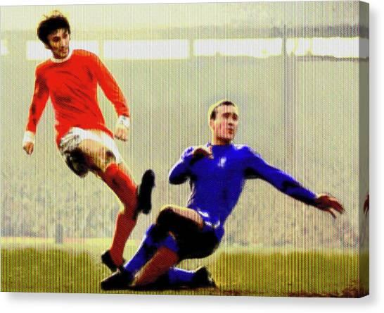 Stamford Bridge Canvas Print - George Best Against Chelsea by Charlie Ross