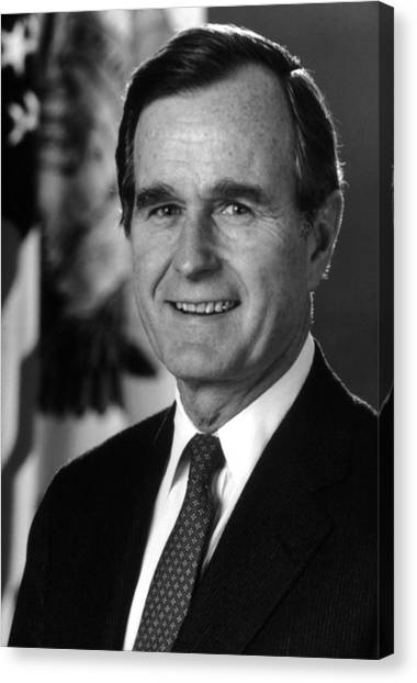 George Bush Canvas Print - George Bush Sr by War Is Hell Store