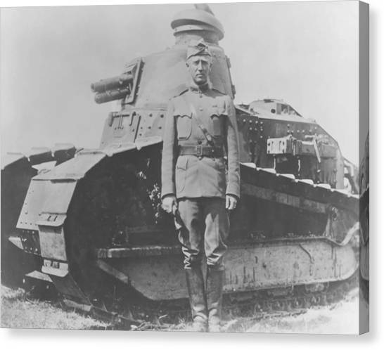 Tanks Canvas Print - George S. Patton During World War One  by War Is Hell Store