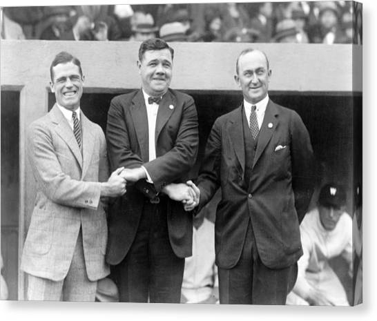 Ty Cobb Canvas Print - George Sisler - Babe Ruth And Ty Cobb - Baseball Legends by International  Images