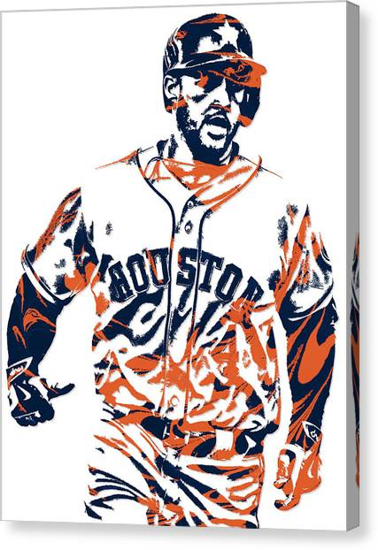 Houston Astros Canvas Print - George Springer Houston Astros Pixel Art 1 by Joe Hamilton