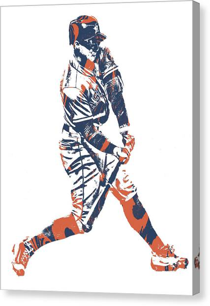 Houston Astros Canvas Print - George Springer Houston Astros Pixel Art 10 by Joe Hamilton