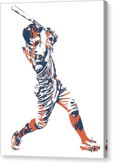 Houston Astros Canvas Print - George Springer Houston Astros Pixel Art 11 by Joe Hamilton
