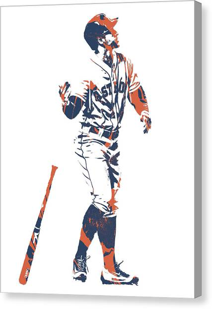 Houston Astros Canvas Print - George Springer Houston Astros Pixel Art 12 by Joe Hamilton