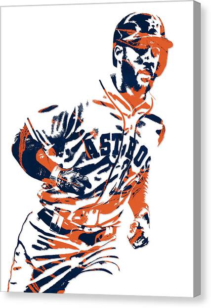 Houston Astros Canvas Print - George Springer Houston Astros Pixel Art 2 by Joe Hamilton