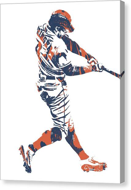 Houston Astros Canvas Print - George Springer Houston Astros Pixel Art 30 by Joe Hamilton