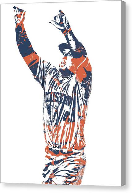 Houston Astros Canvas Print - George Springer Houston Astros Pixel Art 31 by Joe Hamilton