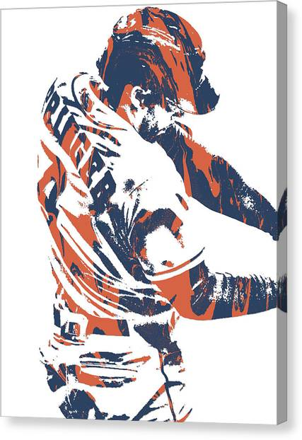 Houston Astros Canvas Print - George Springer Houston Astros Pixel Art 32 by Joe Hamilton