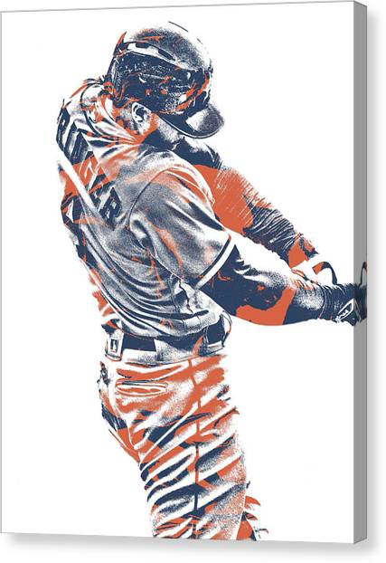 Houston Astros Canvas Print - George Springer Houston Astros Pixel Art 33 by Joe Hamilton