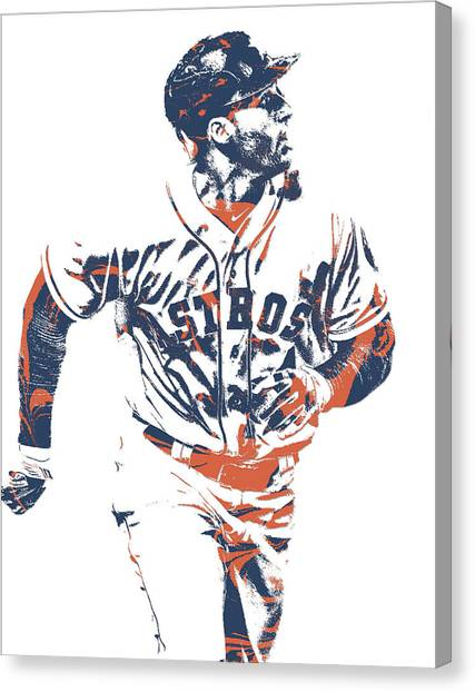 Houston Astros Canvas Print - George Springer Houston Astros Pixel Art 34 by Joe Hamilton