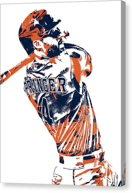 Houston Astros Canvas Print - George Springer Houston Astros Pixel Art 4 by Joe Hamilton