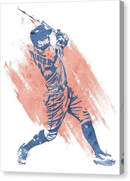 Houston Astros Canvas Print - George Springer Houston Astros Water Color Art 1 by Joe Hamilton