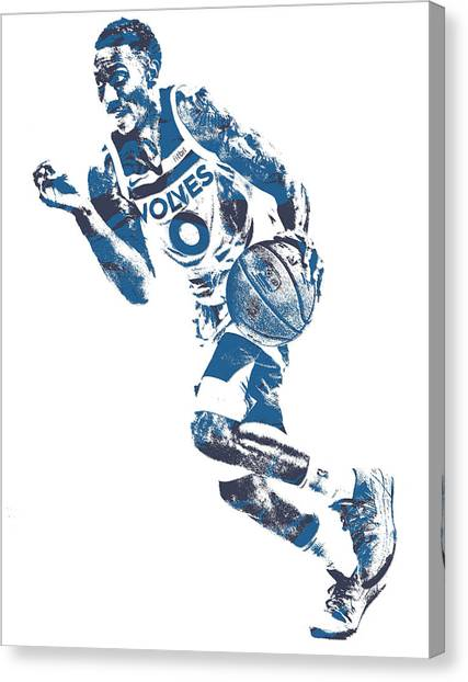Minnesota Timberwolves Canvas Print - George Teague Minnesota Timberwolves Pixel Art 1 by Joe Hamilton