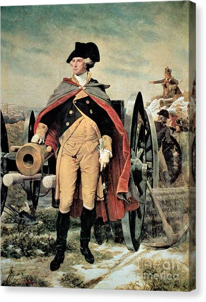 Axes Canvas Print - George Washington At Dorchester Heights by Emanuel Gottlieb Leutze