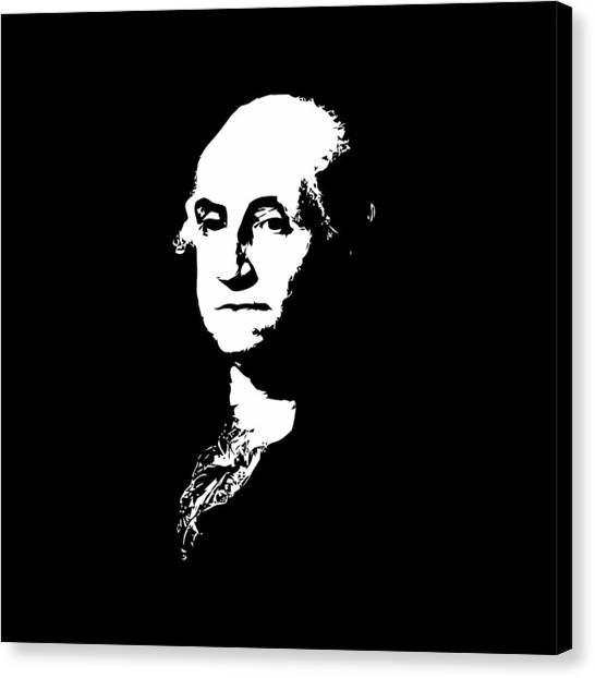 George Washington Canvas Print - George Washington Black And White by War Is Hell Store