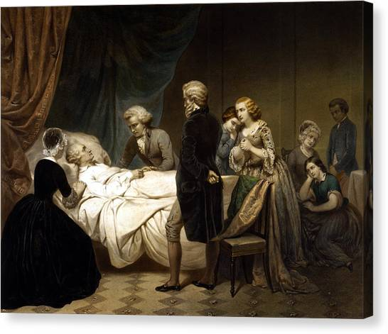 George Washington Canvas Print - George Washington On His Deathbed by War Is Hell Store