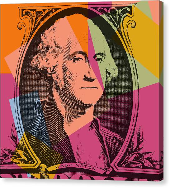 Ben Franklin Canvas Print - George Washington Pop Art by Dan Sproul