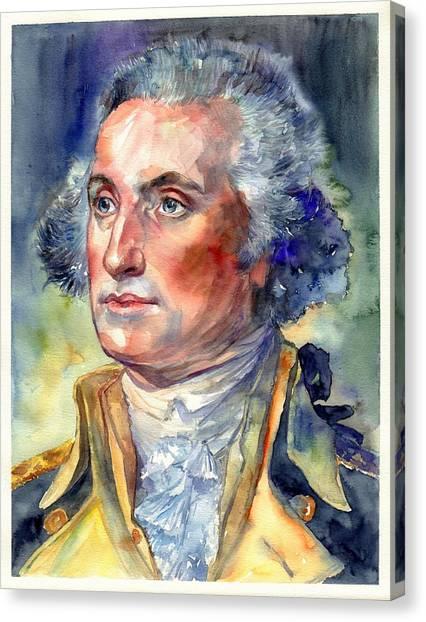 George Washington Canvas Print - George Washington Portrait by Suzann's Art
