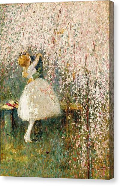 Georges Picard French 1857 1946 Romance Under The Blossom Tree Canvas Print
