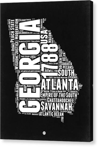Georgia Canvas Print - Georgia Black And White Word Cloud Map by Naxart Studio