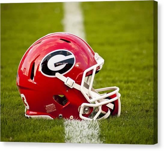 Sec Canvas Print - Georgia Bulldogs Football Helmet by Replay Photos