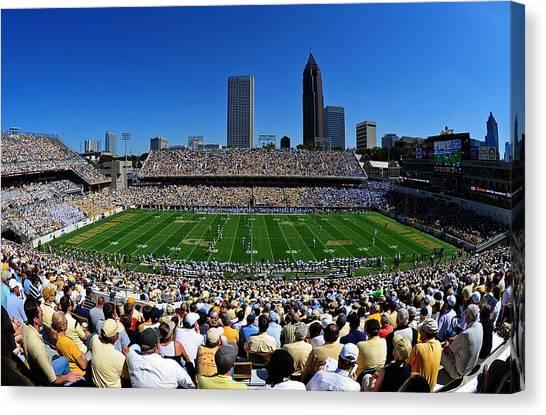 Acc Canvas Print - Georgia Tech Bobby Dodd Stadium And Atlanta Skyline  by Getty Images