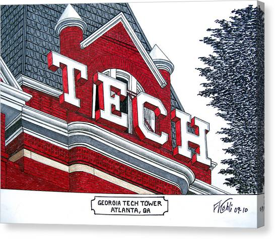 Georgia Institute Of Technology Georgia Tech Canvas Print - Georgia Tech Tower by Frederic Kohli