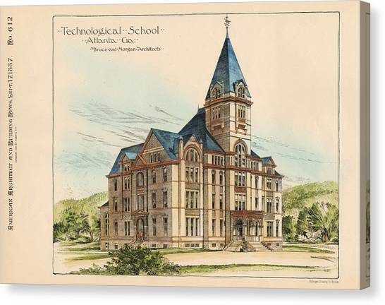 Georgia Technical School. Atlanta Georgia 1887 Canvas Print by Bruce and Morgan