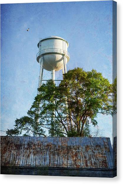 Canvas Print featuring the photograph Georgia Water Tower by Whitney Leigh Carlson